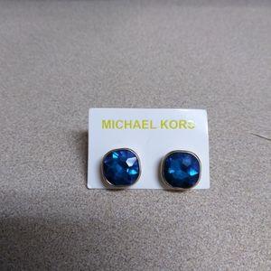Mk logo gold tone citrine earrings